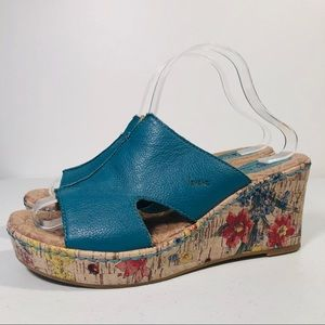 BOC teal Leather Wedge Sandal